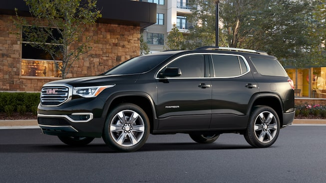 Exterior side profile of the GMC Acadia SLE and SLT.