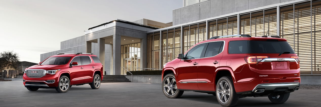 The 2019 GMC Acadia Denali mid-size SUV available with safety and driver assistance features.