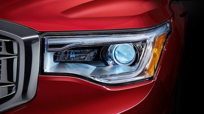 The 2019 GMC Acadia Denali mid-size luxury SUV available with safety Intellibeam headlamps.