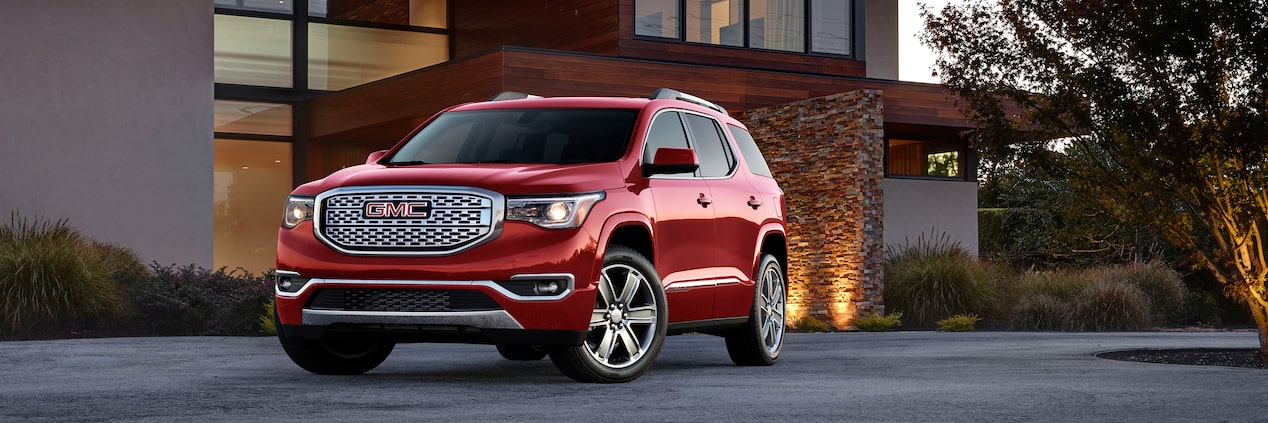 Front exterior profile of the Acadia Denali luxury mid-size SUV.