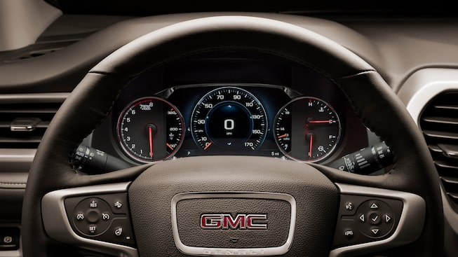 GMC Acadia Denali interior: available with a heated steering wheel.