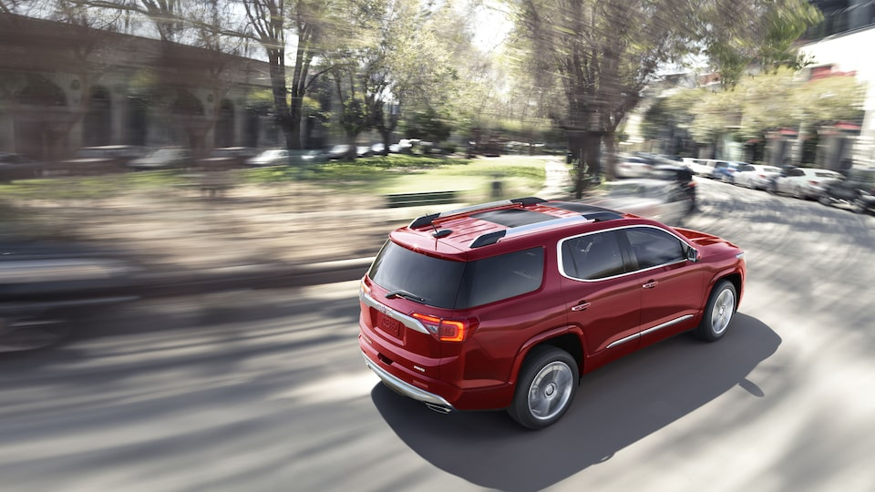The 2019 GMC Acadia Denali with available dual skyscape sunroof.