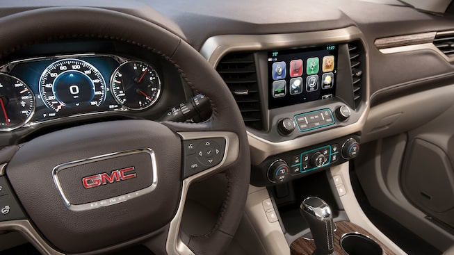 The 2019 GMC Acadia Denali mid-size SUV with available connectivity features.