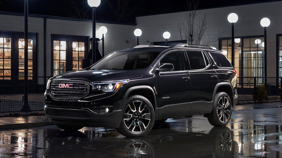 Exterior front profile of the 2019 Acadia Black Edition.