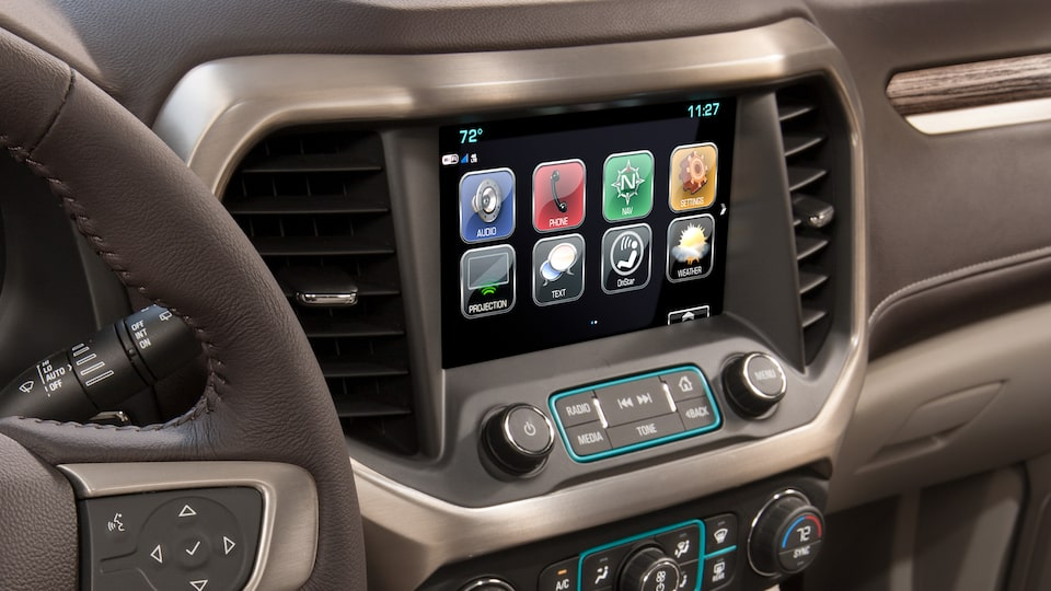 The Acadia's available GMC Infotainment System.