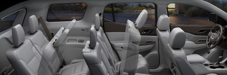 GMC Acadia's adjustable seating options for 5, 6 or 7 people.
