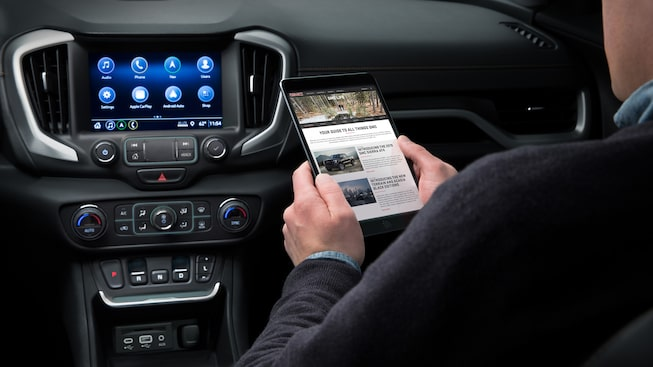 2019 Terrain Denali's available built-in 4G LTE Wi-Fi hotspot.