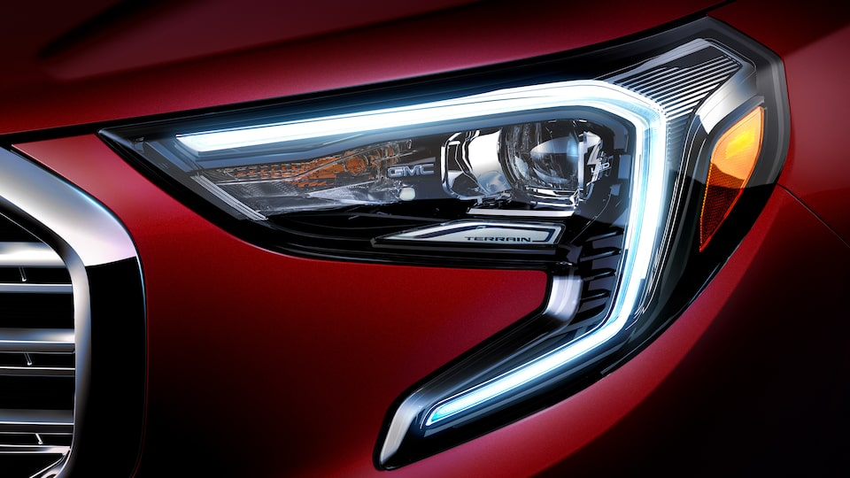 Signature C-shaped lighting and LED headlamps on the 2019 Terrain Denali SUV.