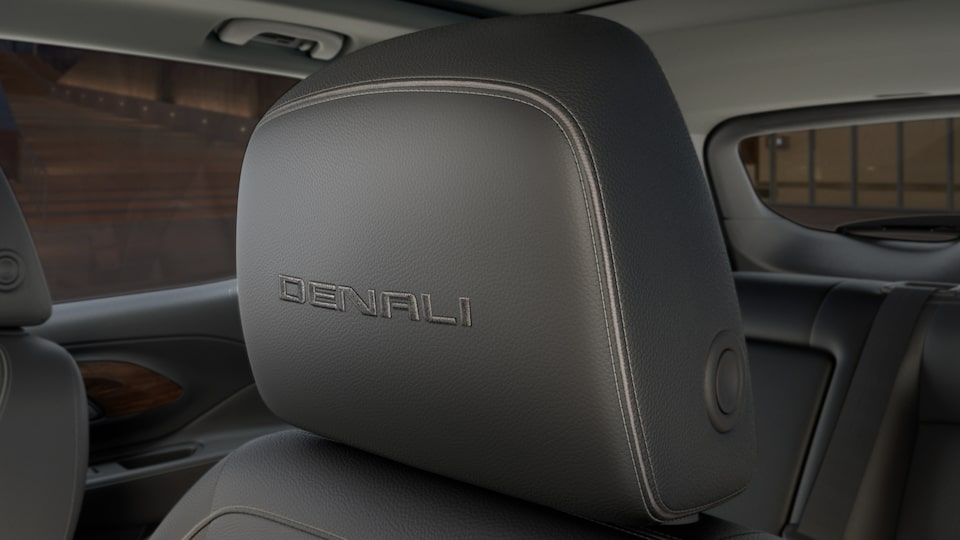 Terrain Denali's French stitched leather-appointed front seats with embroidered head restraints.