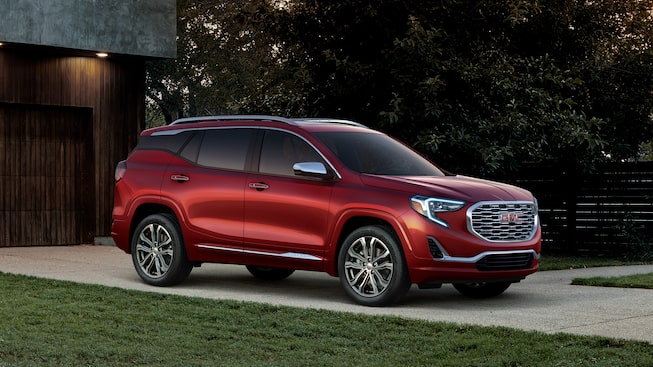 GMC Terrain Denali small luxury SUV exterior: shown in Red Quartz Tintcoat.