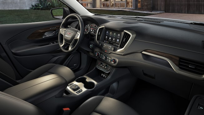 Interior view of the luxury trim inside the Terrain Denali SUV.