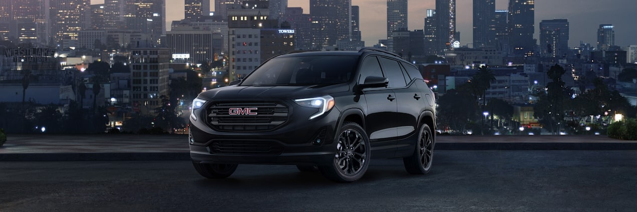 The GMC Terrain Black Edition exterior: with blacked-out exterior details.