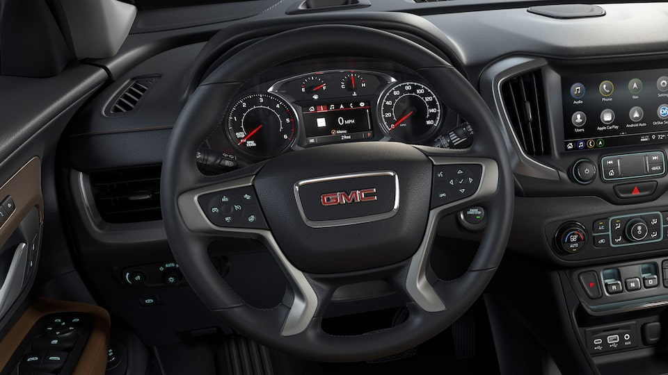 Terrain SUV's standard leather-appointed steering wheel.