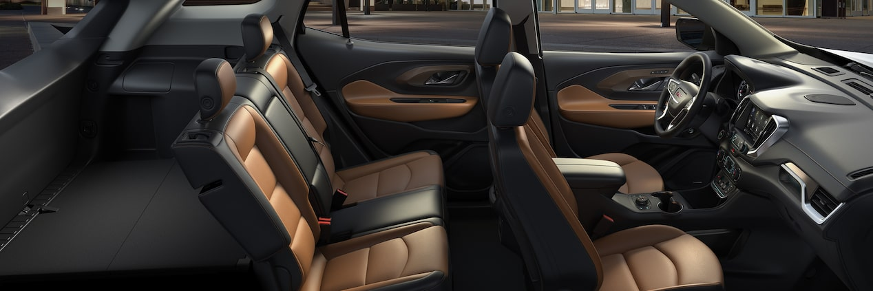 Interior of the 2019 GMC Terrain blends premium soft-touch materials and authentic aluminum trim.