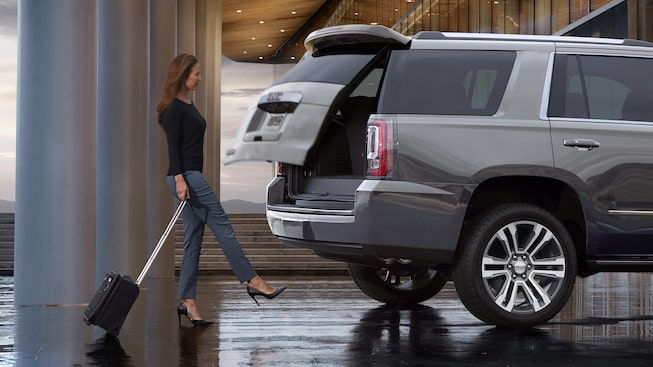The GMC Yukon Denali with available hands-free liftgate.