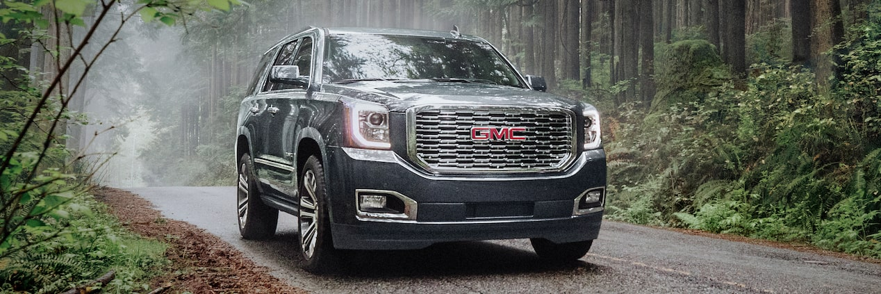 Exterior of the 2019 GMC Yukon Denali full-size luxury SUV.