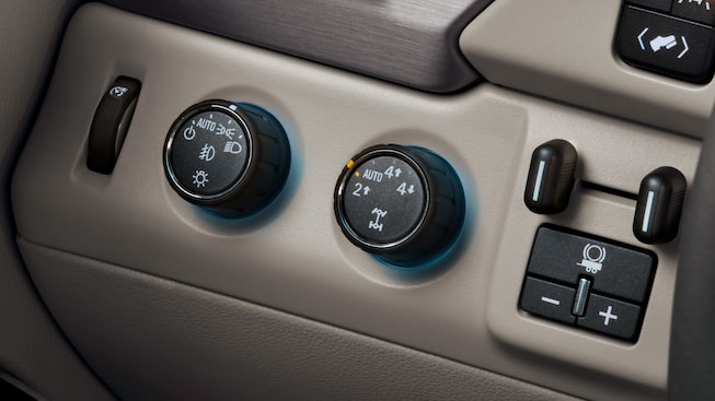 Performance towing buttons on the interior of the 2019 Yukon Denali.
