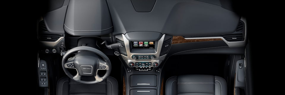 The front centre airbag provides protection inside the GMC Yukon Denali full-size luxury SUV.