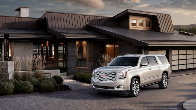 The Yukon XL Denali with White Frost Tricoat exterior.
