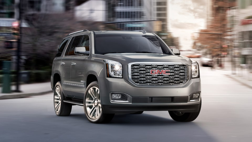 The 2019 GMC Yukon Denali full-size luxury SUV in QuickSilver Metallic.