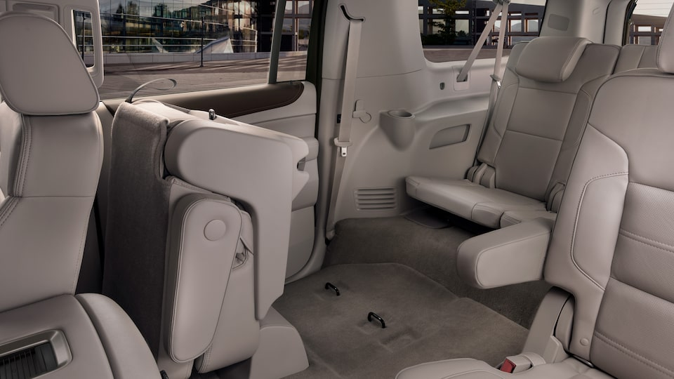 GMC Yukon Denali's second-row power-release fold-and-tumble seats.