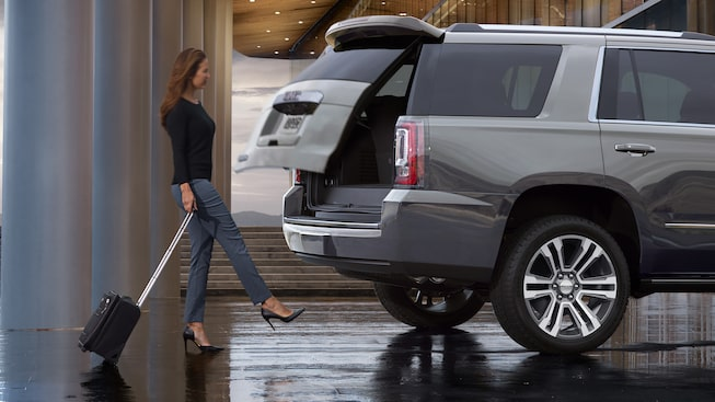 The 2019 GMC Yukon's hands-free liftgate that can be opened with the kick of a foot.