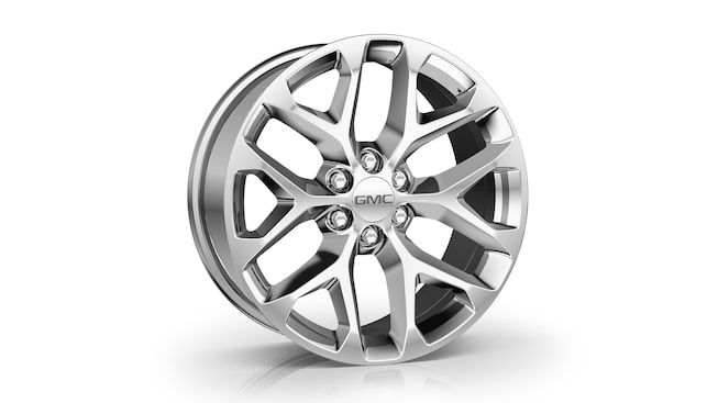GMC Yukon's available 22-inch 6-spoke chrome multi-feature design wheels.