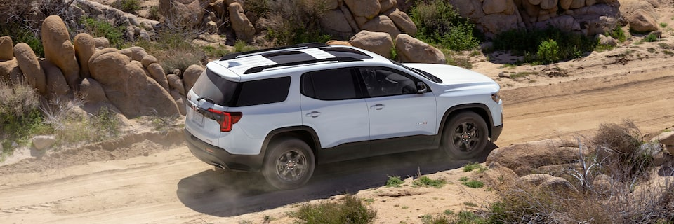 2020 GMC Acadia AT4 Mid-Size SUV: Driving Off Road Profile View.