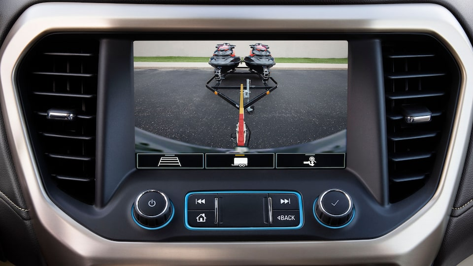 Acadia Denali Luxury SUV: Rear Camera Hitch View.