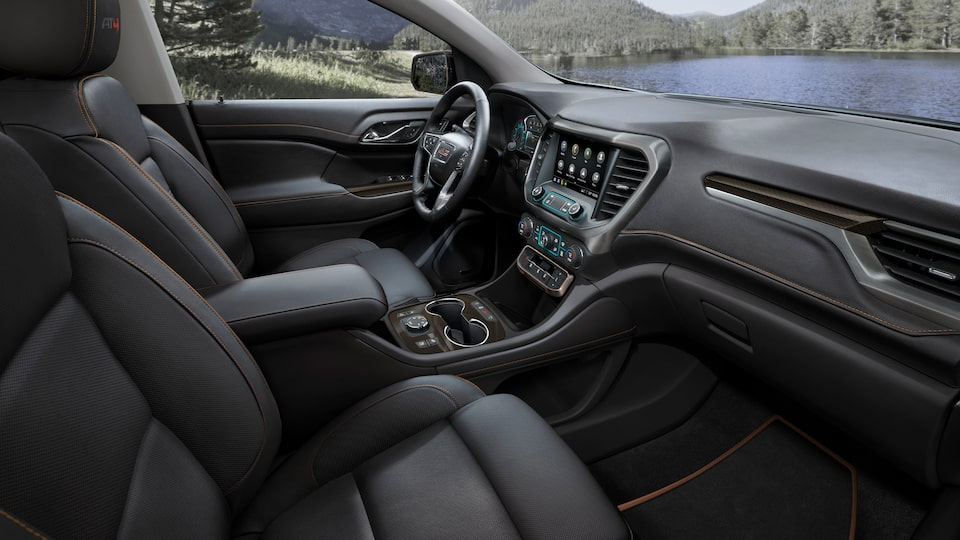 2020 GMC Acadia AT4 Mid-Size SUV: Interior Front Seats & Dashboard.