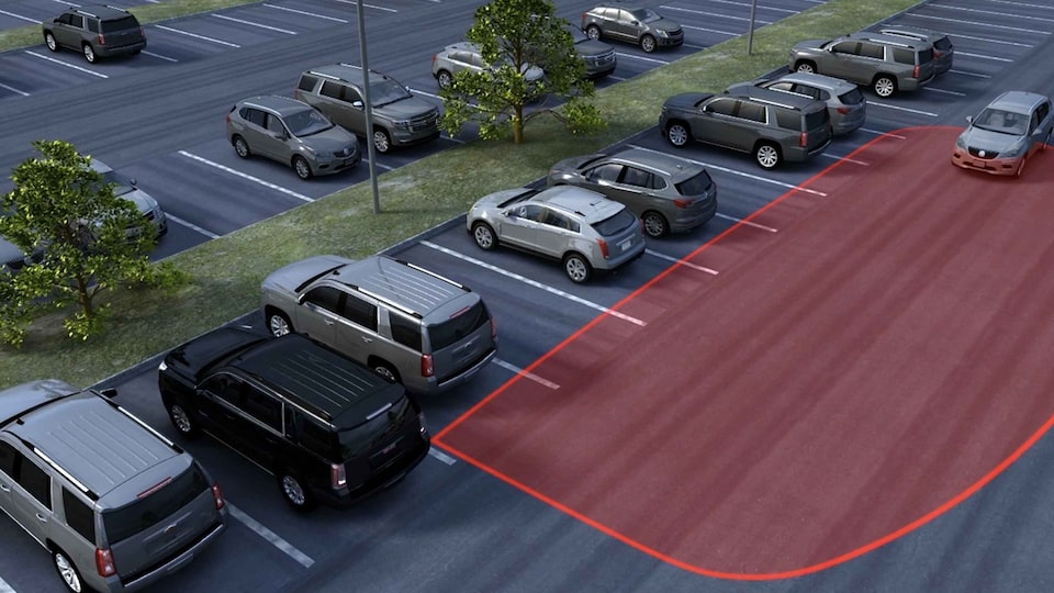 2021 GMC Acadia Rear Cross Traffic Alert safety feature.