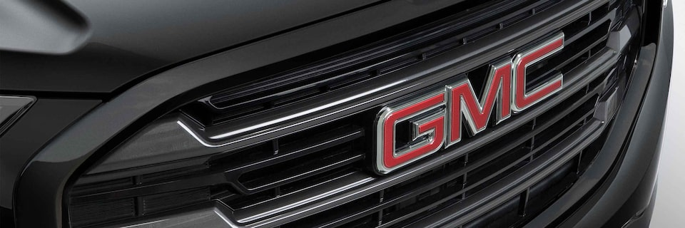 Close up view of the 2021 GMC Terrain grille.