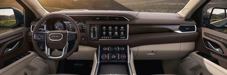 2021 Yukon interior front dashboard.