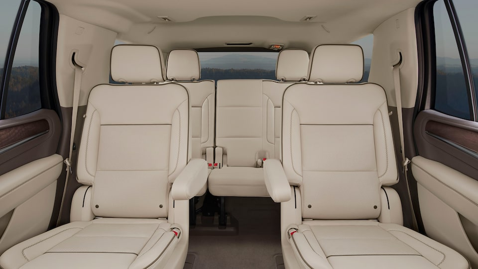 2021 GMC Yukon interior back leather seats.