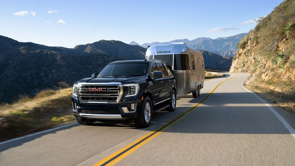 2021 GMC Yukon trailering on the road.