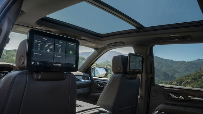 2021 GMC Yukon Denali rear seat media capability.