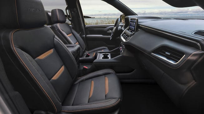 2021 GMC Yukon AT4 interior front seats.