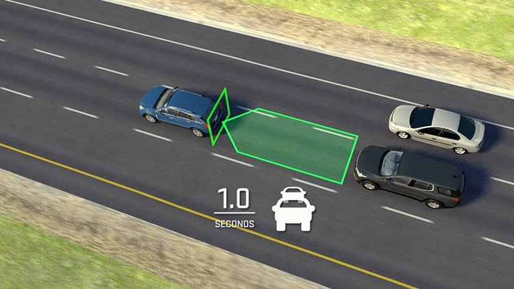 2020 GMC vehicle safety: with available Following Distance Indicator.