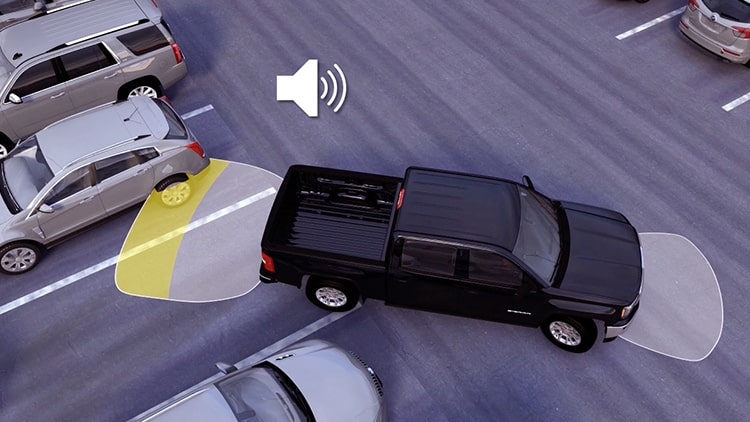 2019 GMC vehicle with Front and Rear Park Assist feature.
