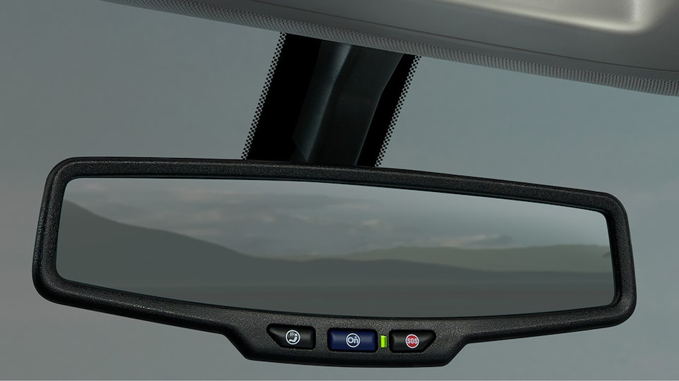 GMC Canyon All Terrain's rear-view mirror.