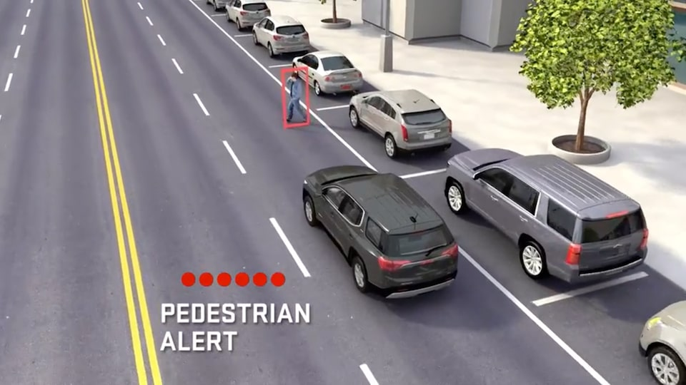 GMC Yukon safety pedestrian alert feature.