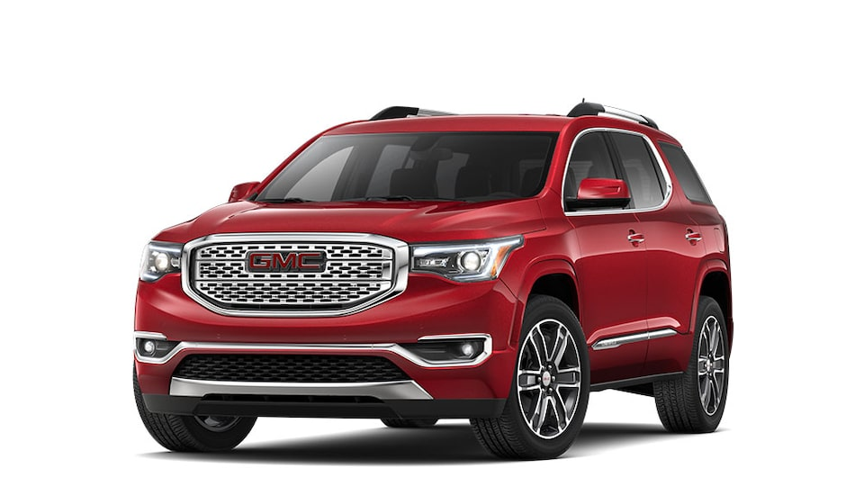 2019 GMC Acadia Denali in Red Quartz Metallic colour.