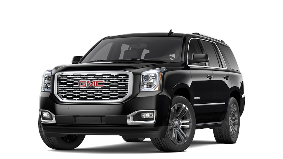 2019 GMC Yukon full-size SUV In Onyx Black.