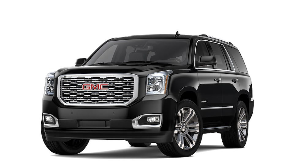 2020 GMC Yukon Denali full-size SUV In Carbon Black Metallic.