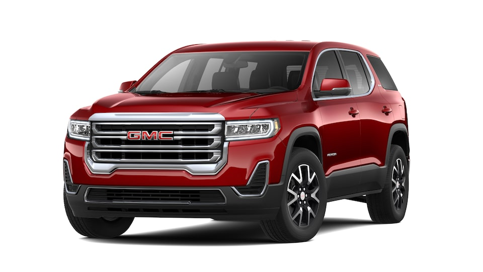 2021 GMC Acadia SLE in Cayenne Red.