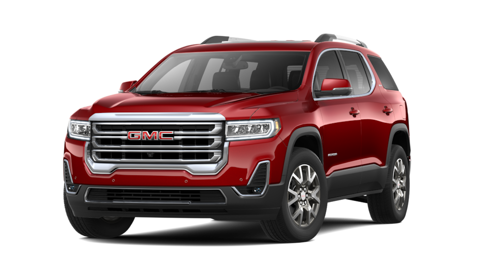 2021 GMC Acadia SLT in Cayenne Red.