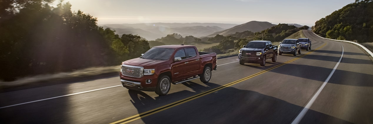 The 2019 GMC Canyon family of mid-size pickup trucks.