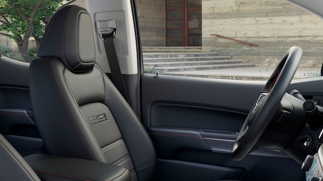 GMC Canyon All Terrain's available leather-appointed front seating.