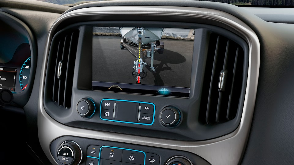 Canyon All Terrain mid-size pickup truck's rear vision camera with 8-inch colour display.