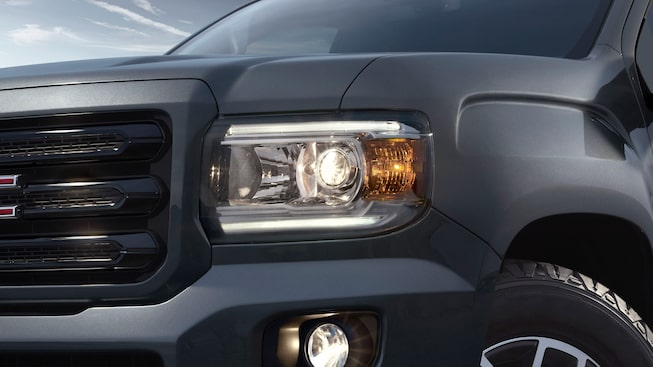 GMC Canyon All Terrain's projector headlamps with LED signature lighting.
